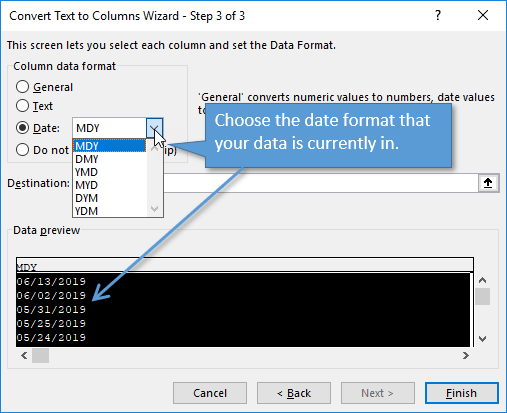 Step 3 of Text to Columns Wizard