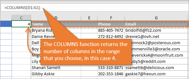 Columns Function returns number of columns