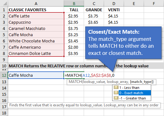 Match_Type Argument for the MATCH Function in Excel