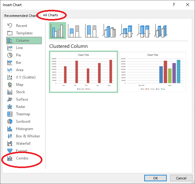 Select Combo From All Charts in Excel 365