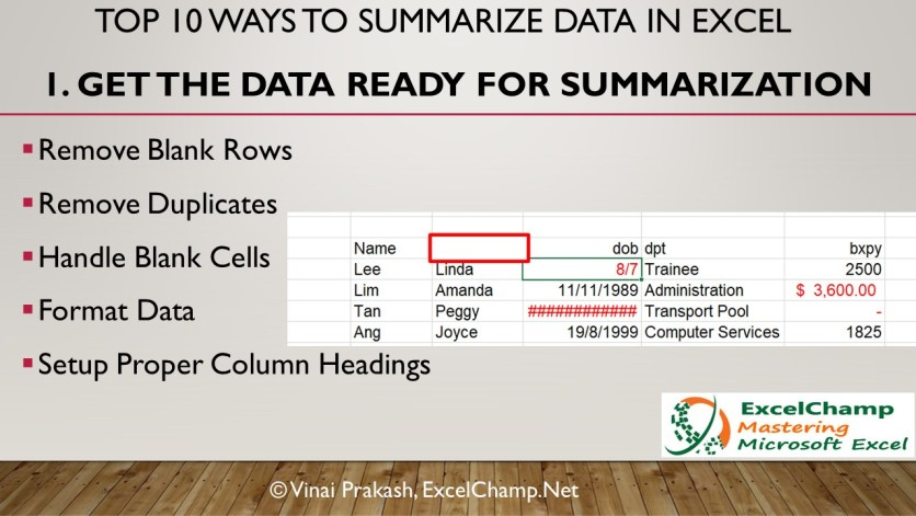 Clean Excel Data Before You Summarize it