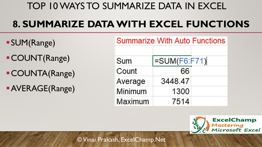 Use Excel Functions to Summarize Information