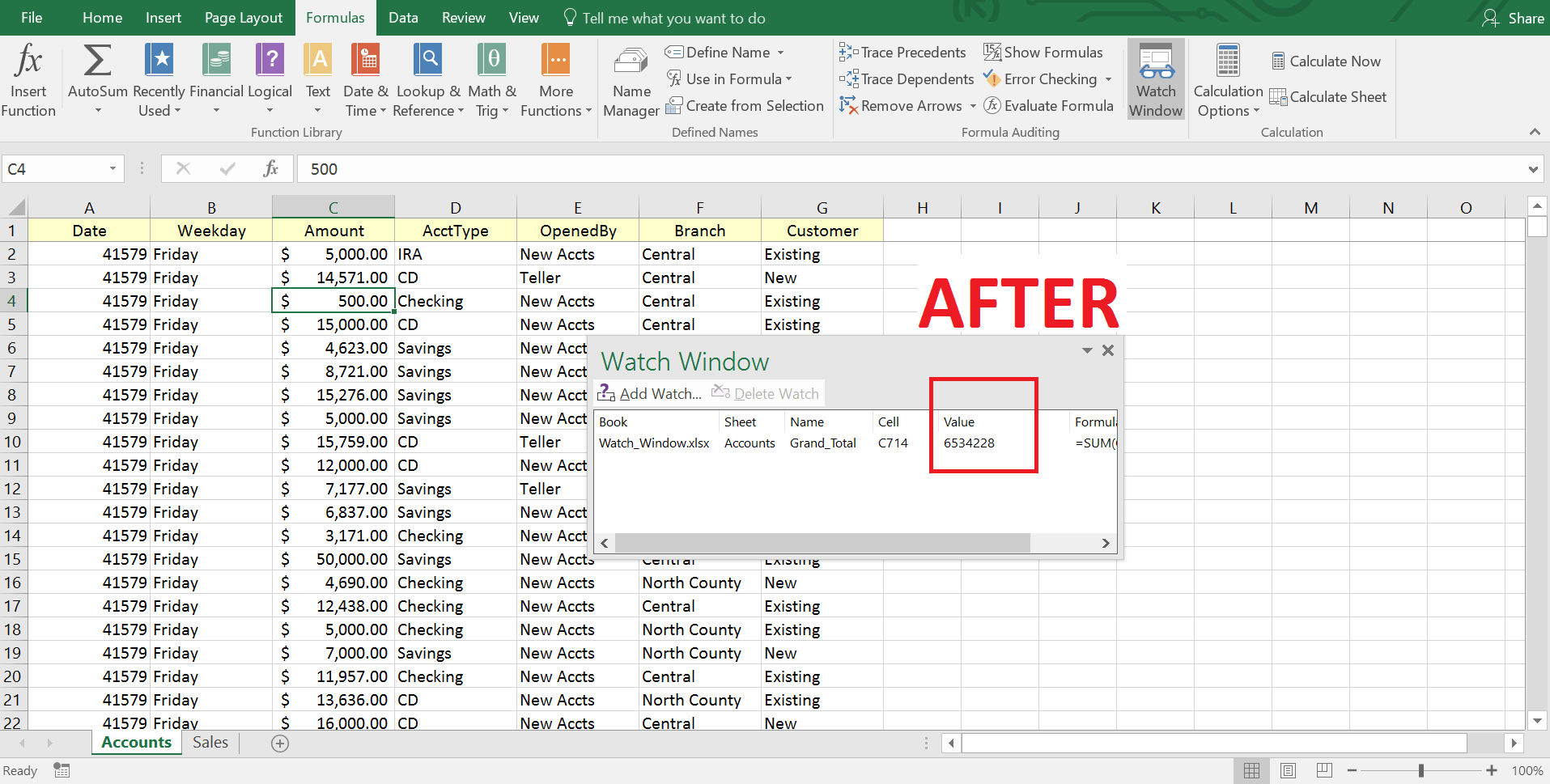 Monitor Cells With Excel Watch Window