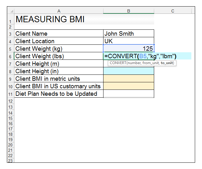 How to Use the CONVERT Function in Excel and creating a BMI ...