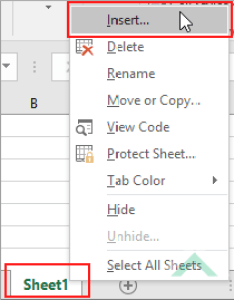 Right click on single sheet and select insert excel also an chart vba rh exceldome