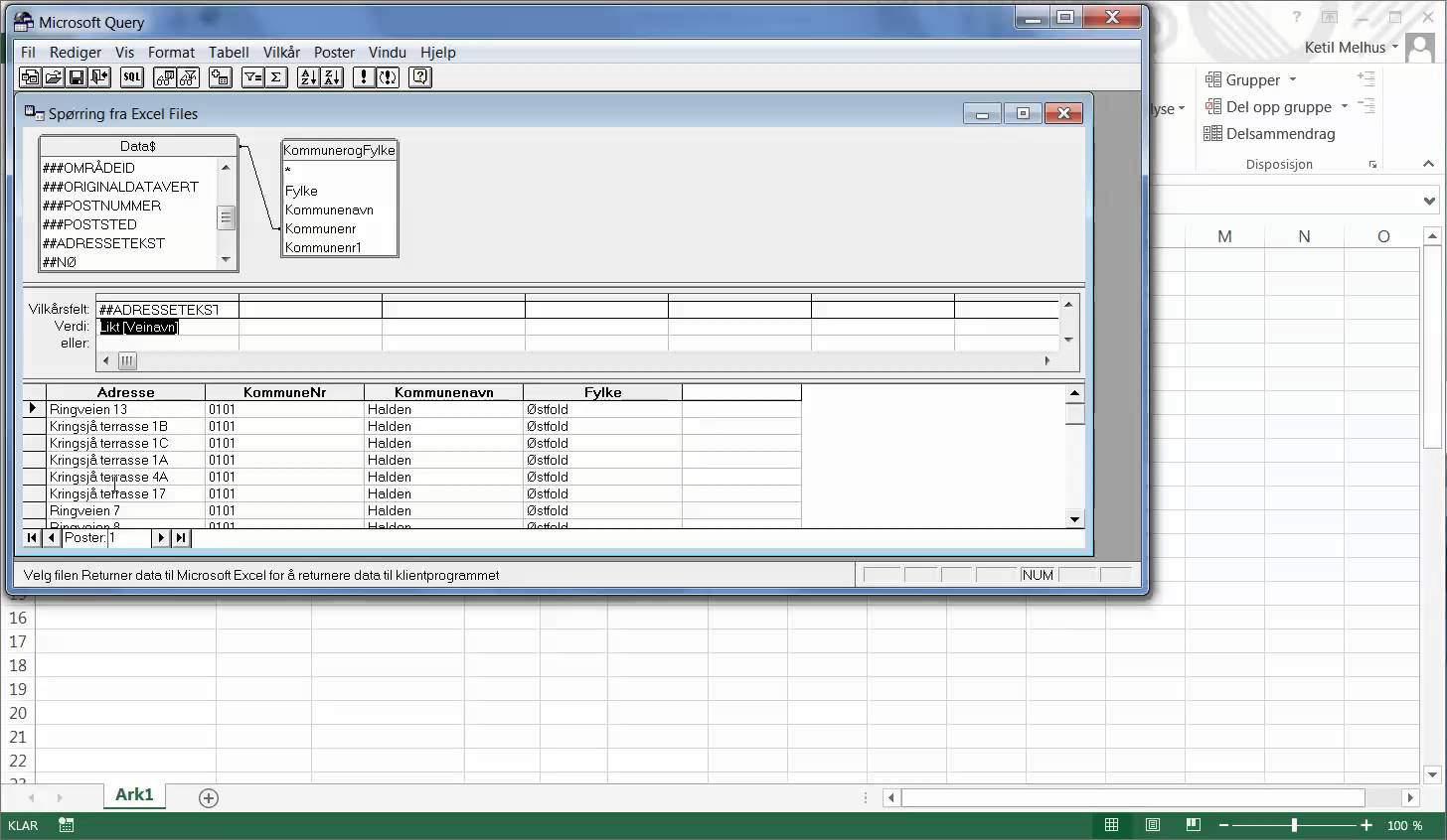 Sql Sp Rringer I Excel Med Ms Query