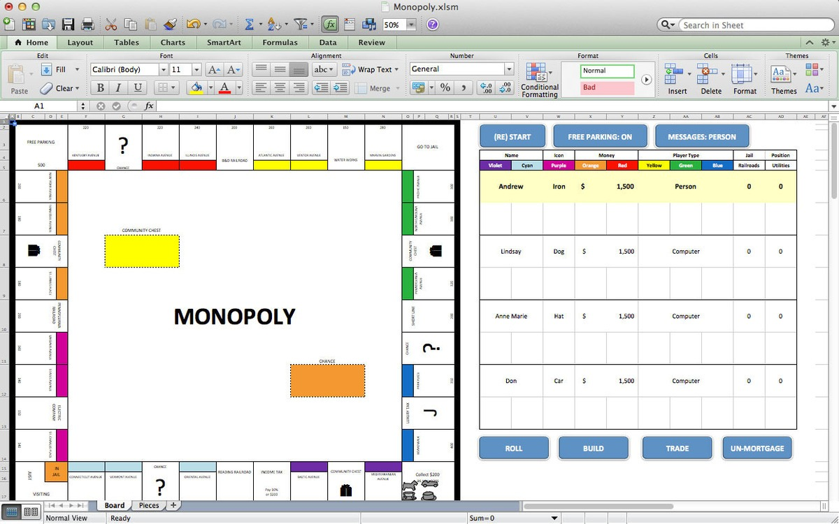 hight resolution of this simulation of the class board game monopoly is just one example of how far excel can go it began as a way to come up with new strategies for computer