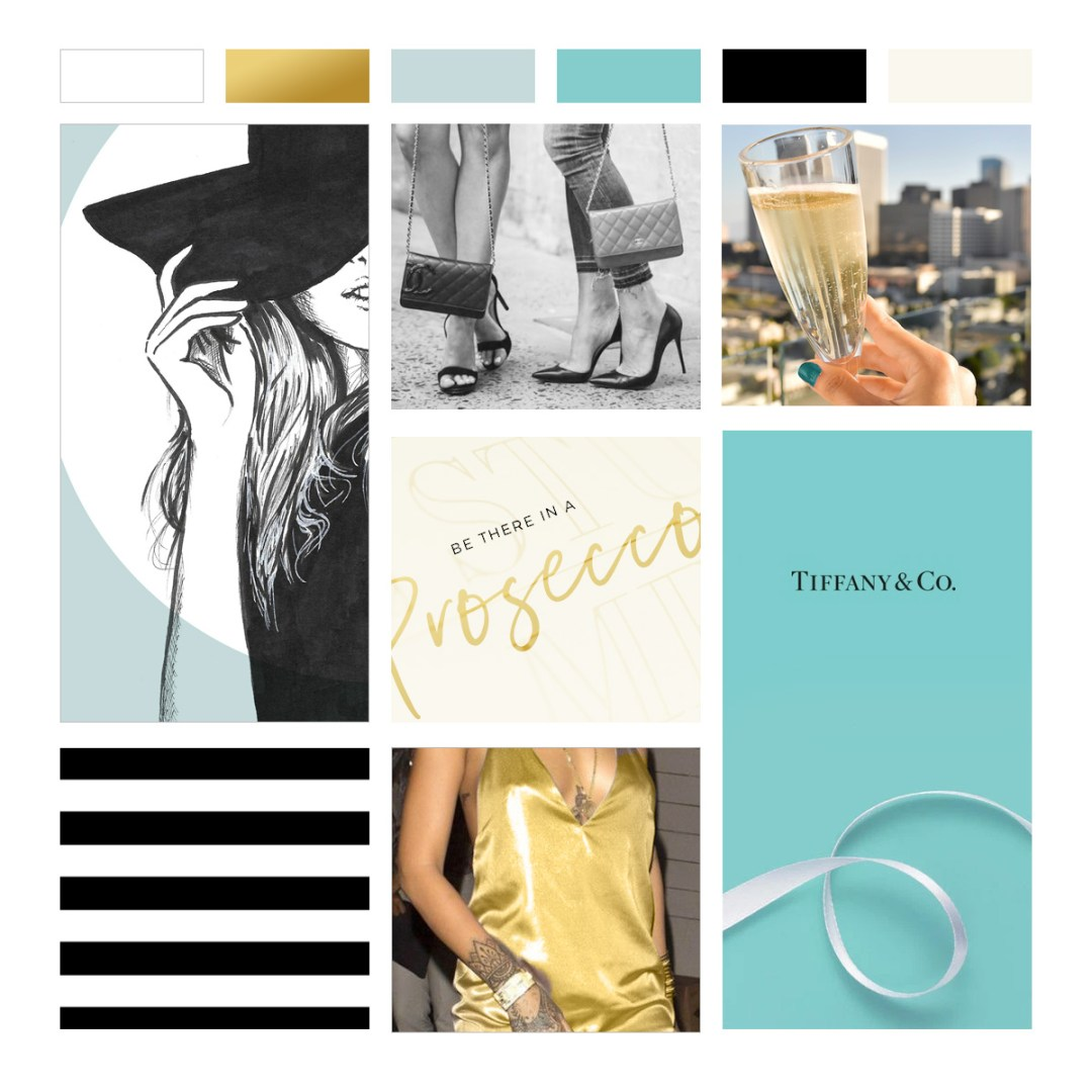 Moodboard Design Tiffany Blue Gold Boutique Branding