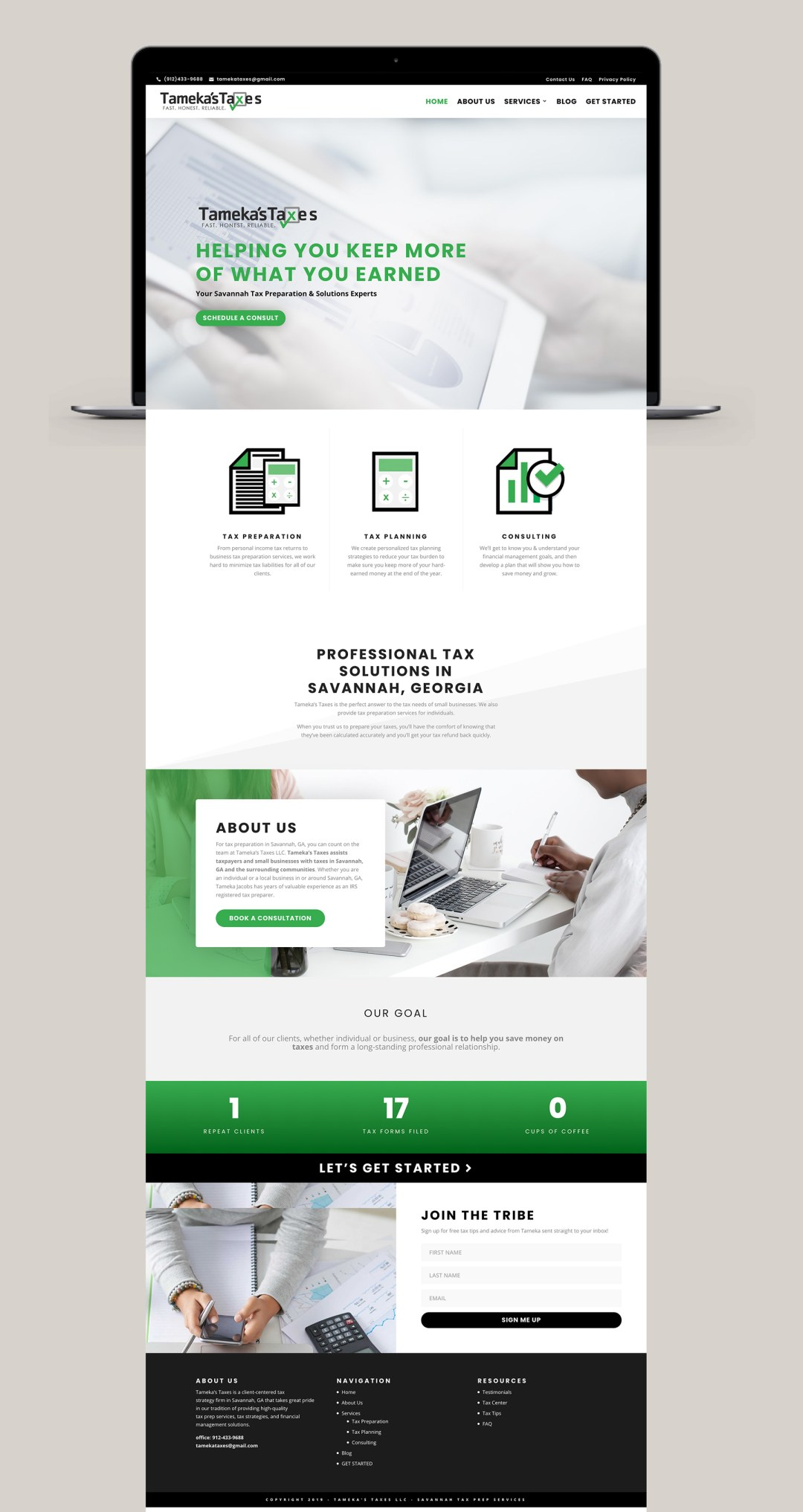 taxes and accounting website design - Tameka's Taxes