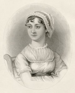 Jane Austen, engraving by Lizars based on watercolor by James Andrews after unfinished work by Cassandra Austen, published 1870