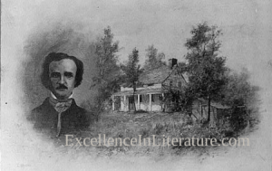 Edgar Allan Poe and his New York cottage, Fordam House, c. 1908.