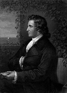 Johann Wolfgang von Goethe, c. 1775, engraving freely derived from portrait by Georg Melchior Kraus. Image courtesy of the University of Texas Libraries, The University of Texas at Austin.