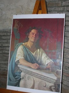 "[portrait of Horace, displayed in his Venosa home] Ritratto di Orazio Flacco (Quintus Horatius Flaccus), casa di Orazio Flacco, Venosa (PZ), April 22, 2008, photo by Wikimedia Commons user ""D.N.R."" who has declared this image in the public domain."