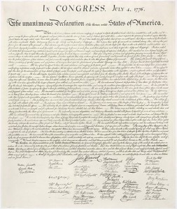 The unanimous Declaration of Independence of the thirteen united States of America.
