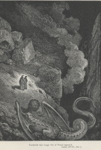 """Gustave Doré """"Forthwith that image vile of Fraud appear'd."""" (Canto 17, line 7) www.gutenberg.org"""