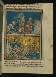 "This medieval illustration by William de Brailes shows Ruth meeting Boaz, as Hugo describes in his poem ""Boaz Asleep."""