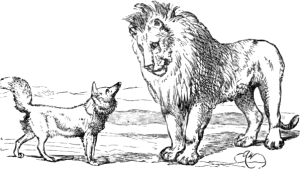Illustration of The Fox and the Lion by Harrison Weir, from Three Hundred Aesop's Fables by George Fyler Townshend (circa 1867)