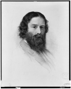 James Russell Lowell, c. 1894 engraving by J.A.J. Wilcox. From original crayon drawn by S.W. Rowse in 1855 and owned by Charles Eliot Norton. Image from the Library of Congress, Washington, DC. LC-USZ62-100831 (b&w film copy neg.)