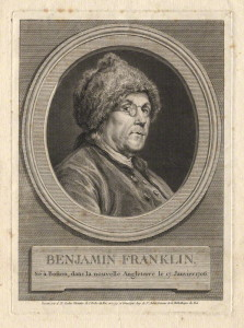 Benjamin Franklin by Augustin de Saint-Aubin, after  Charles Nicolas Cochin line engraving, 1777 (NPG D2369) Creative Commons License