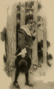 John Alden paces in despair, torn by the conflicting demands of love and friendship, in Longfellow's poem The Courtship of Miles Standish.