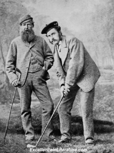 Old and Young Tom Morris playing golf.