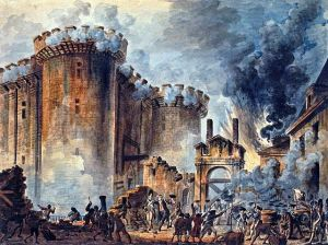 Storming of the Bastille; Jean-Pierre Houël. Public Domain.