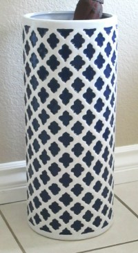 Ceramic Umbrella Stand Navy Blue and White