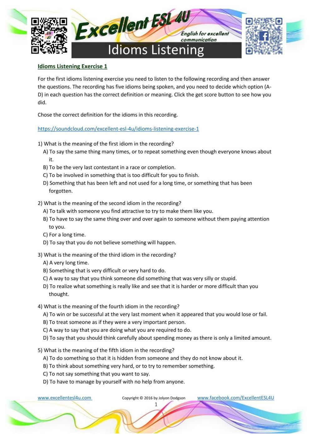 medium resolution of Idioms Worksheets