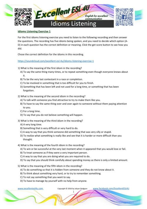 small resolution of Idioms Worksheets