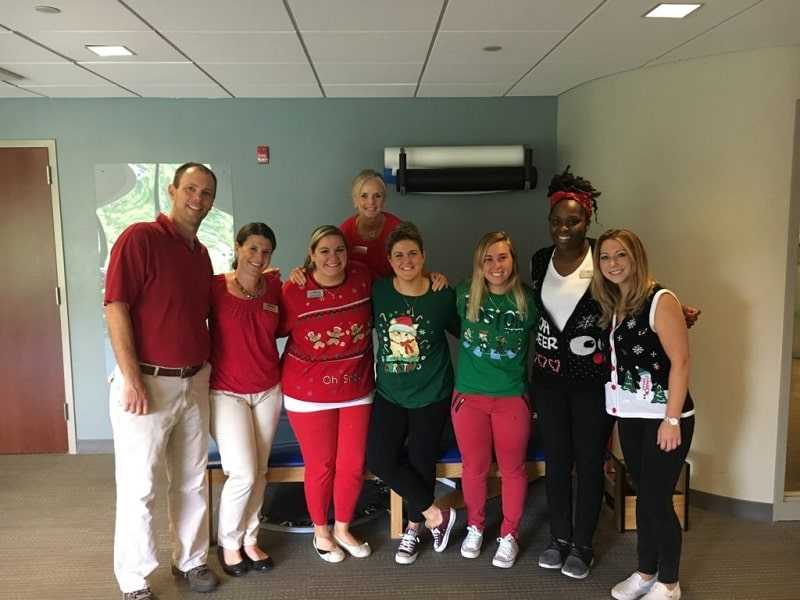 Excel Physical Therapy team dressed up for Christmas in July