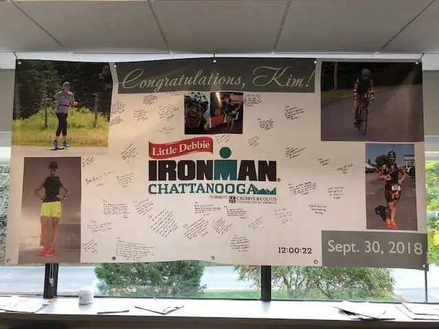 Sign that says Congratulations Kim for her Ironman race in Chattanooga