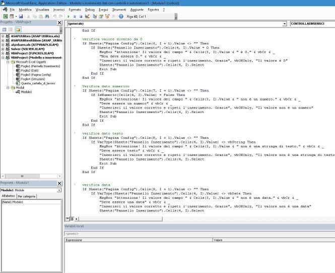 Modello automatizzato editor vba