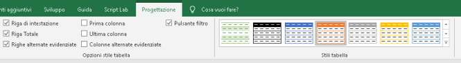 Scheda progettazione tabelle Excel