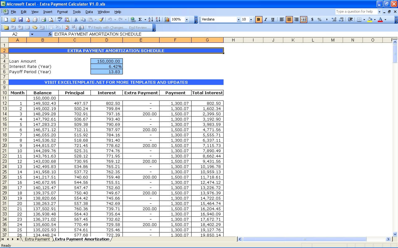 Extra Payment Calculator Exceltemplate
