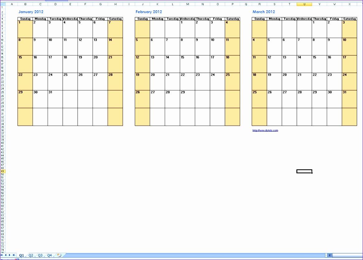 6 3 Month Calendar Template Excel