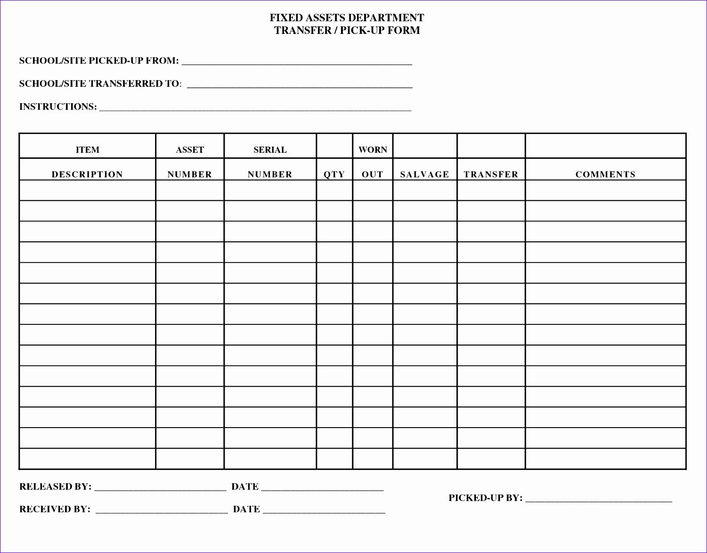 Blank Assets Worksheet