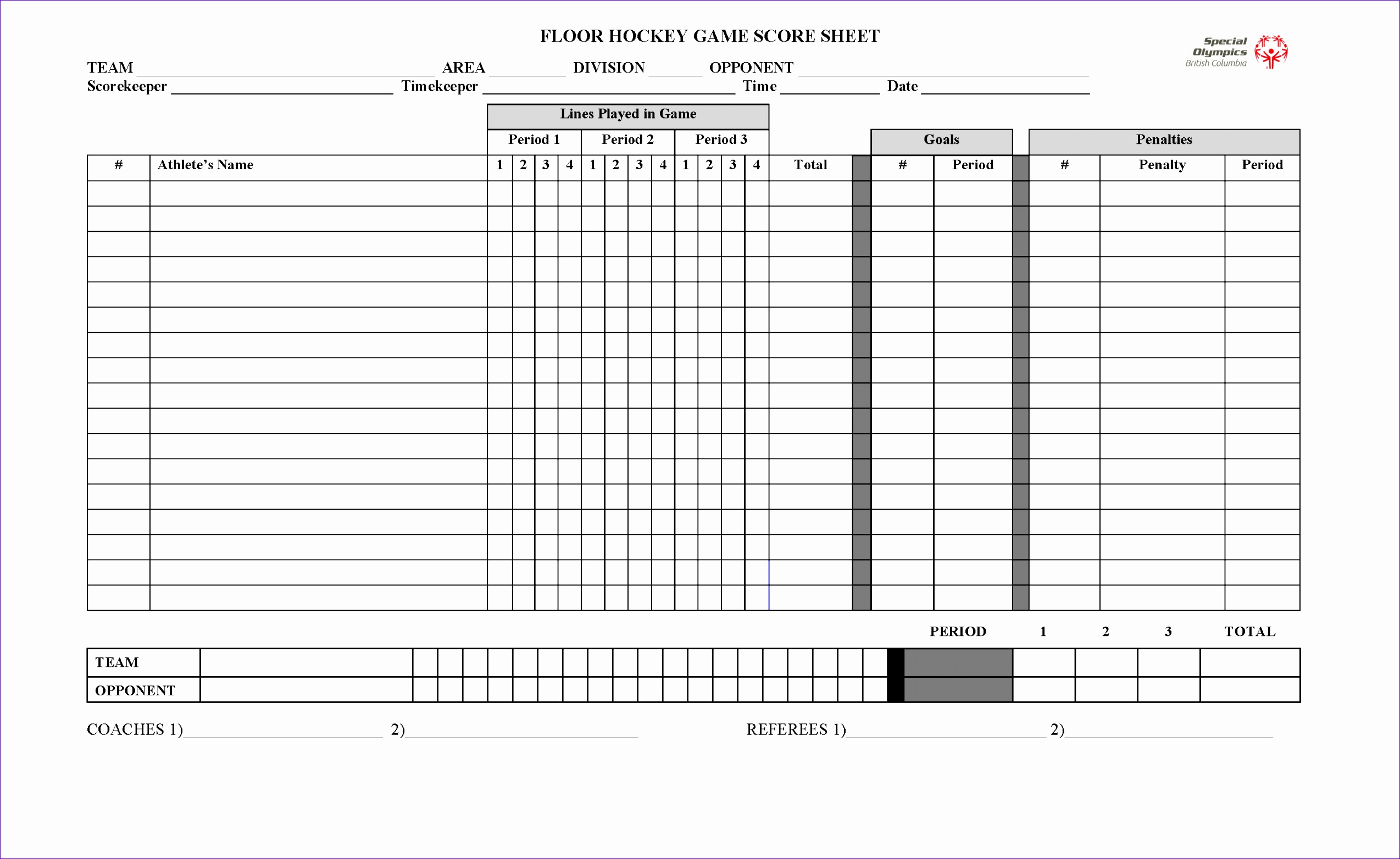 Volleyball Score Sheets Template