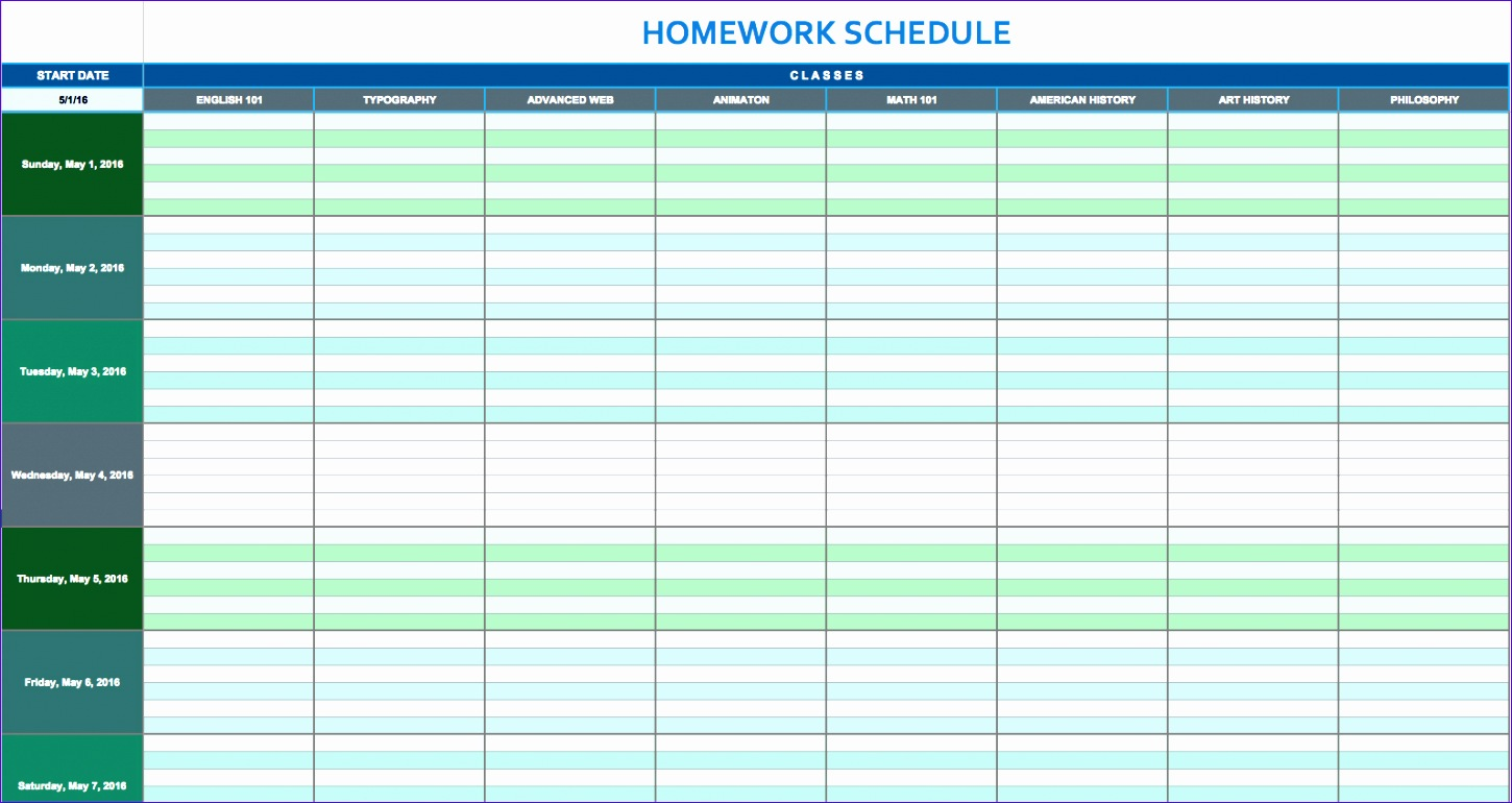 10 Daily Timetable Template Excel
