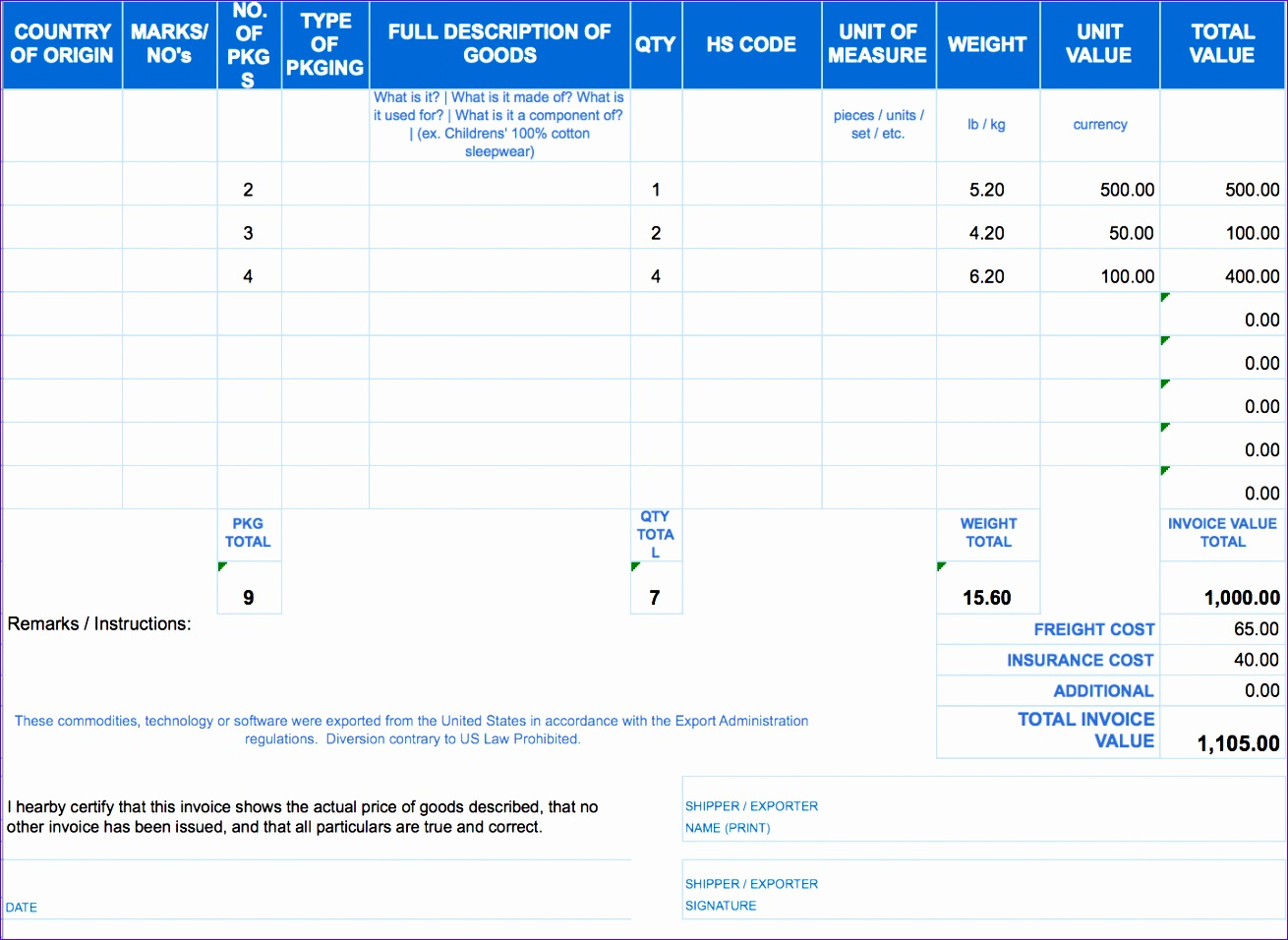 8 Excel Invoice Template Free Download