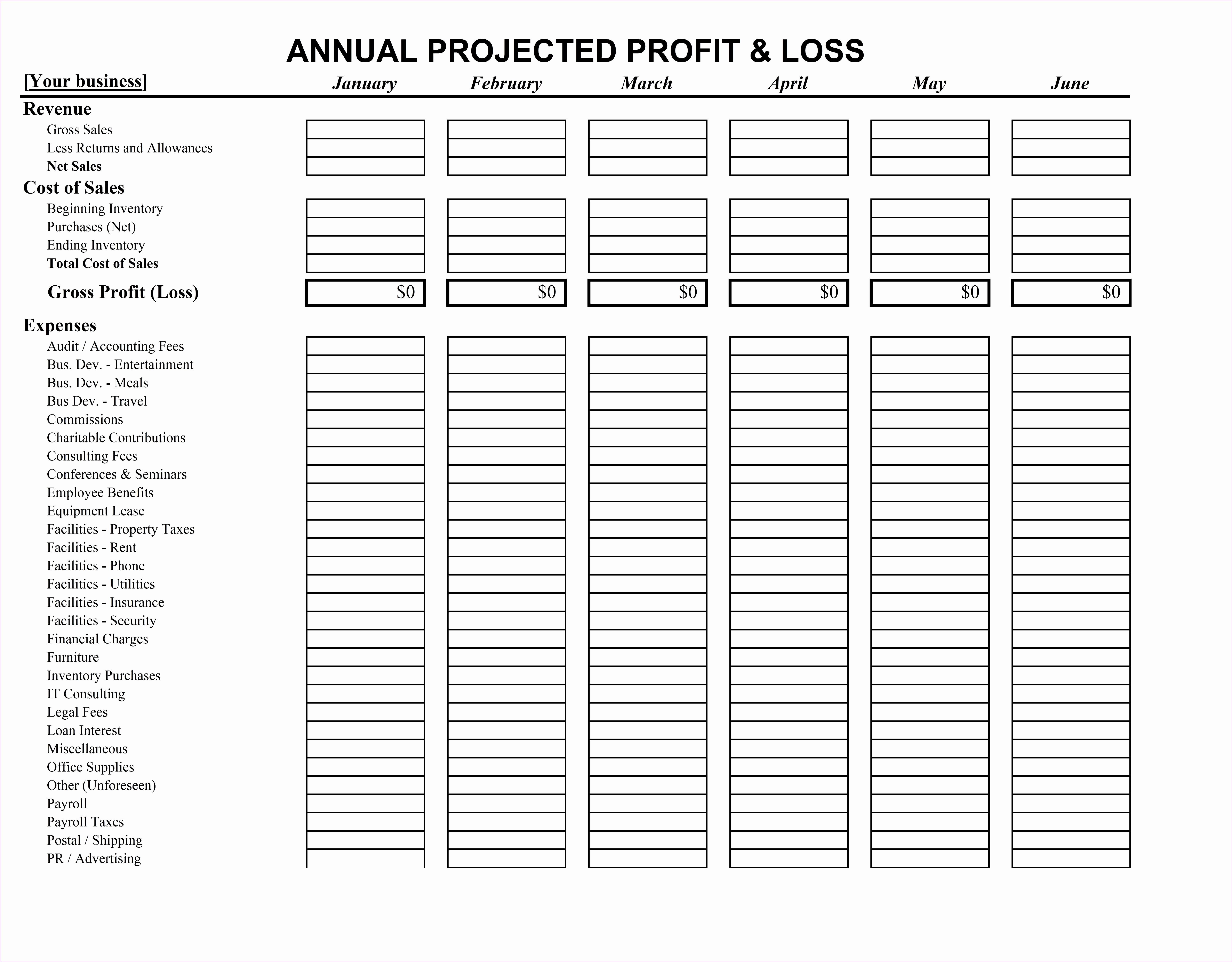 Six Blank Column Worksheet