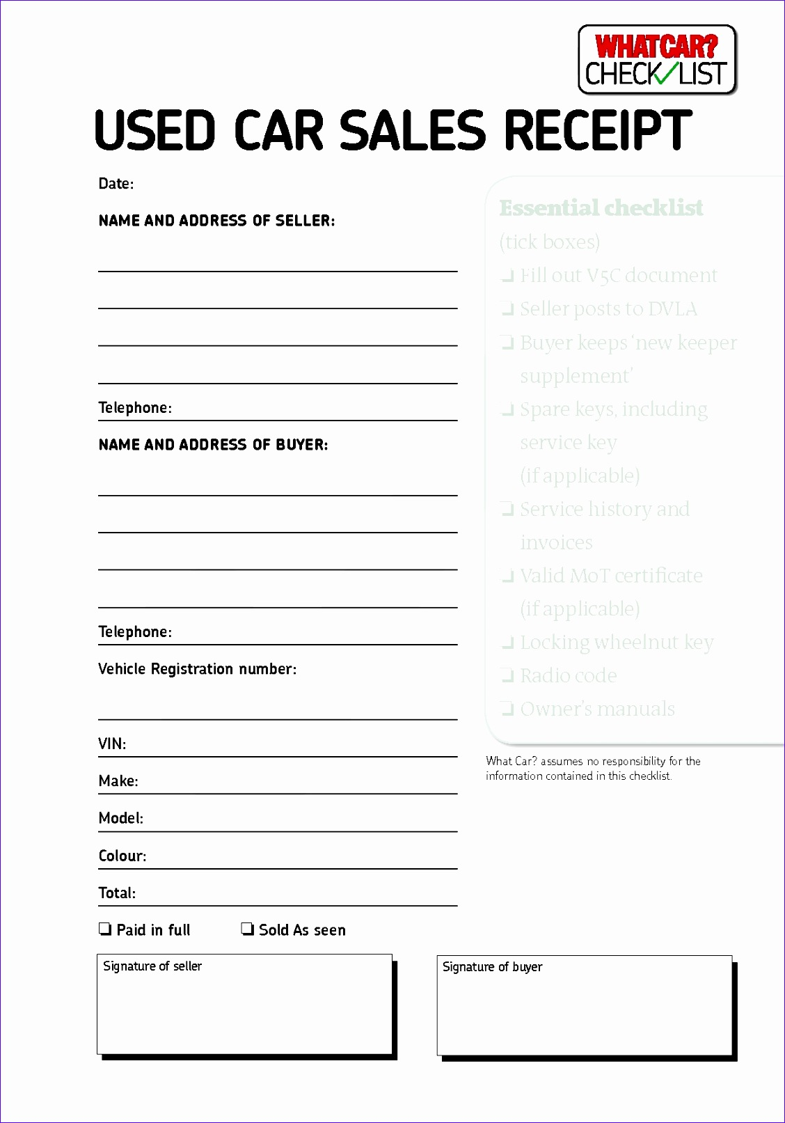 Automotive Repair Worksheet