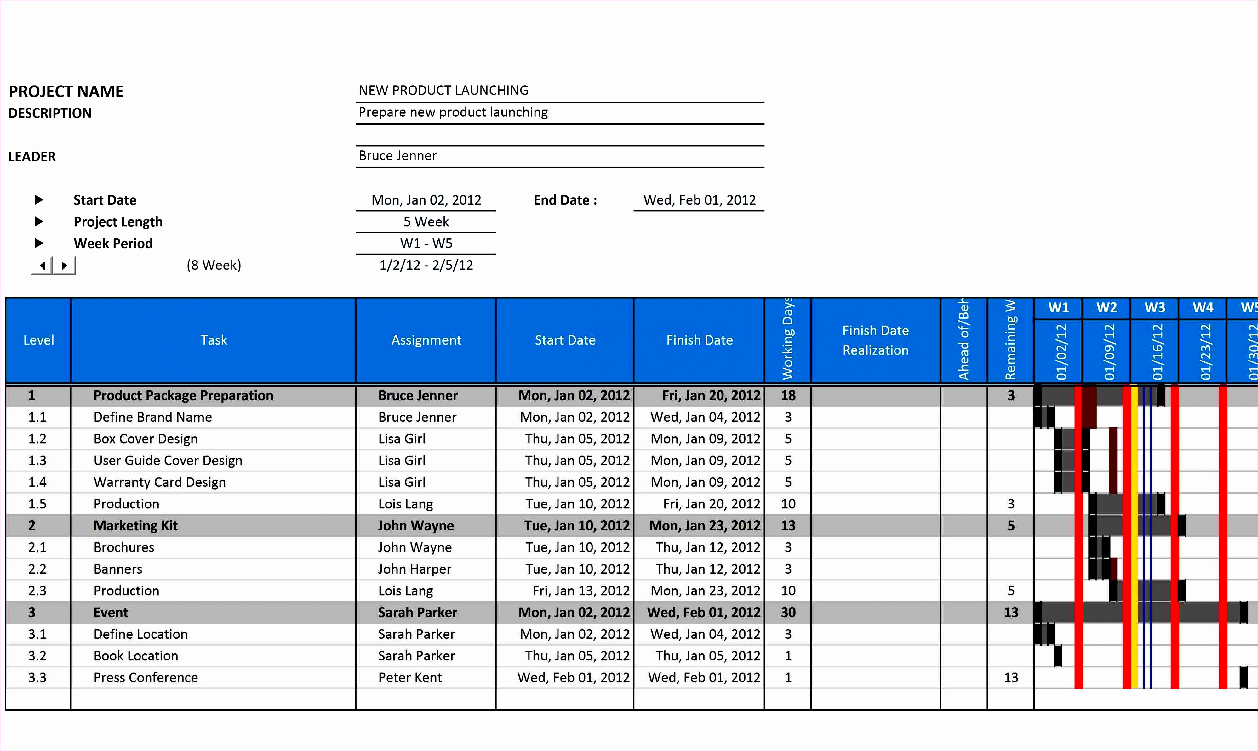 8 Gantt Chart Excel Template