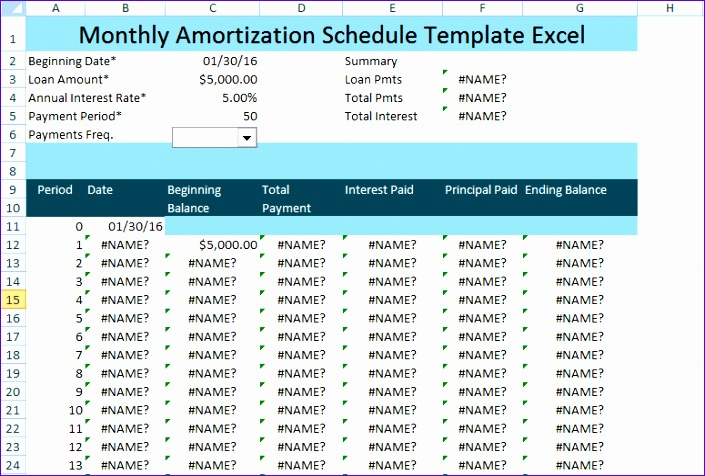 monthly amortization schedule excel template