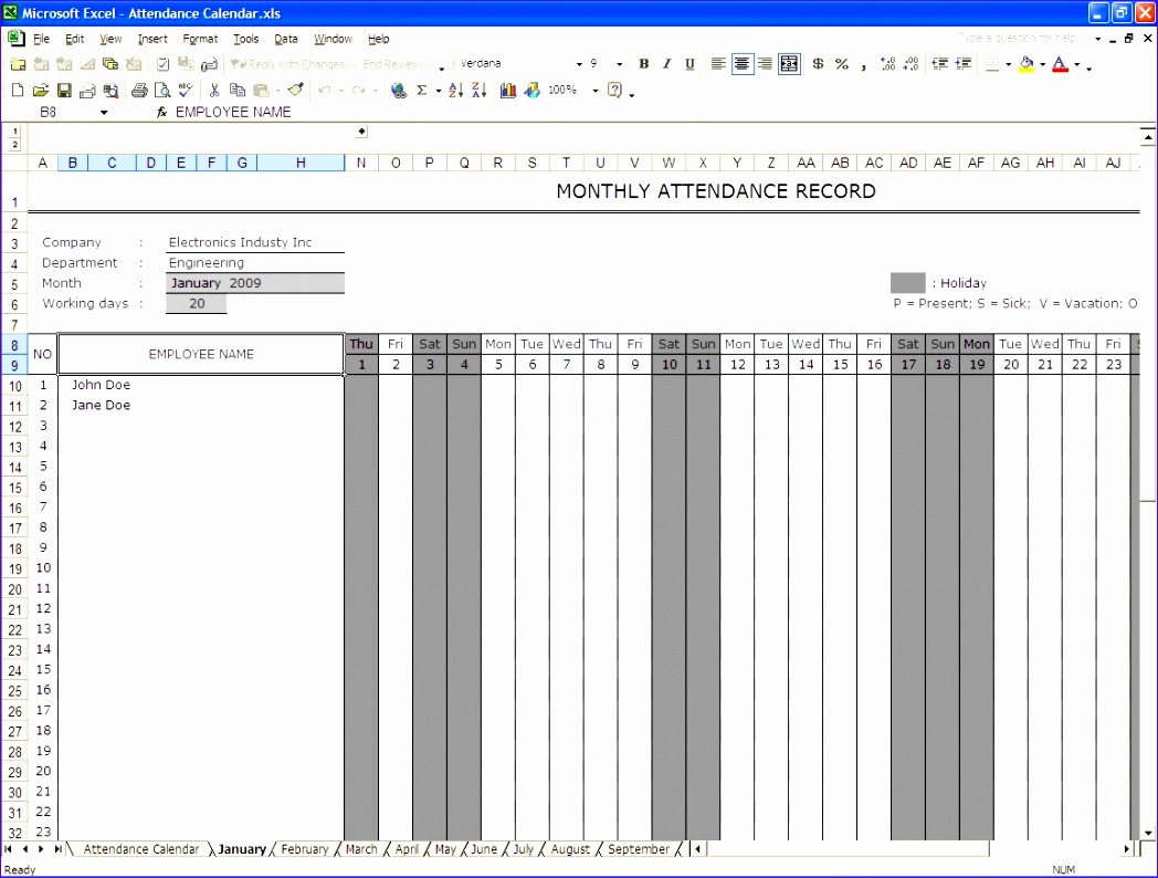 6 Monthly Attendance Sheet Template Excel