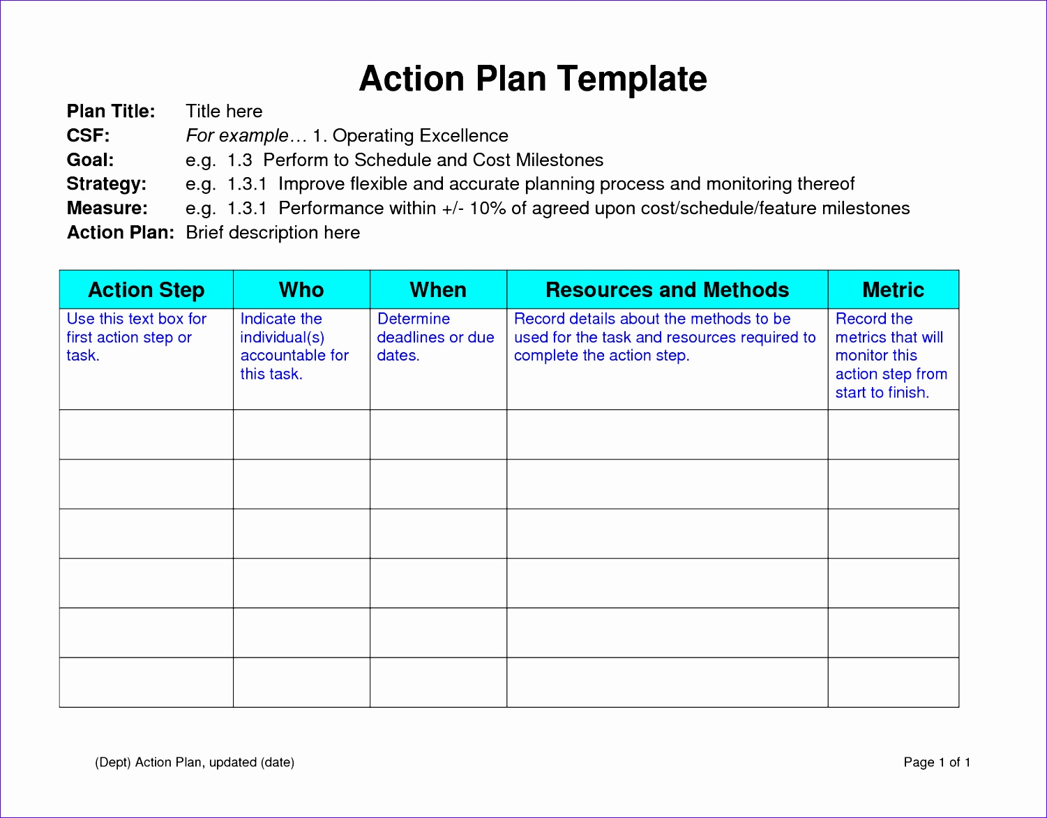 12 Sample Action Plan Template Excel