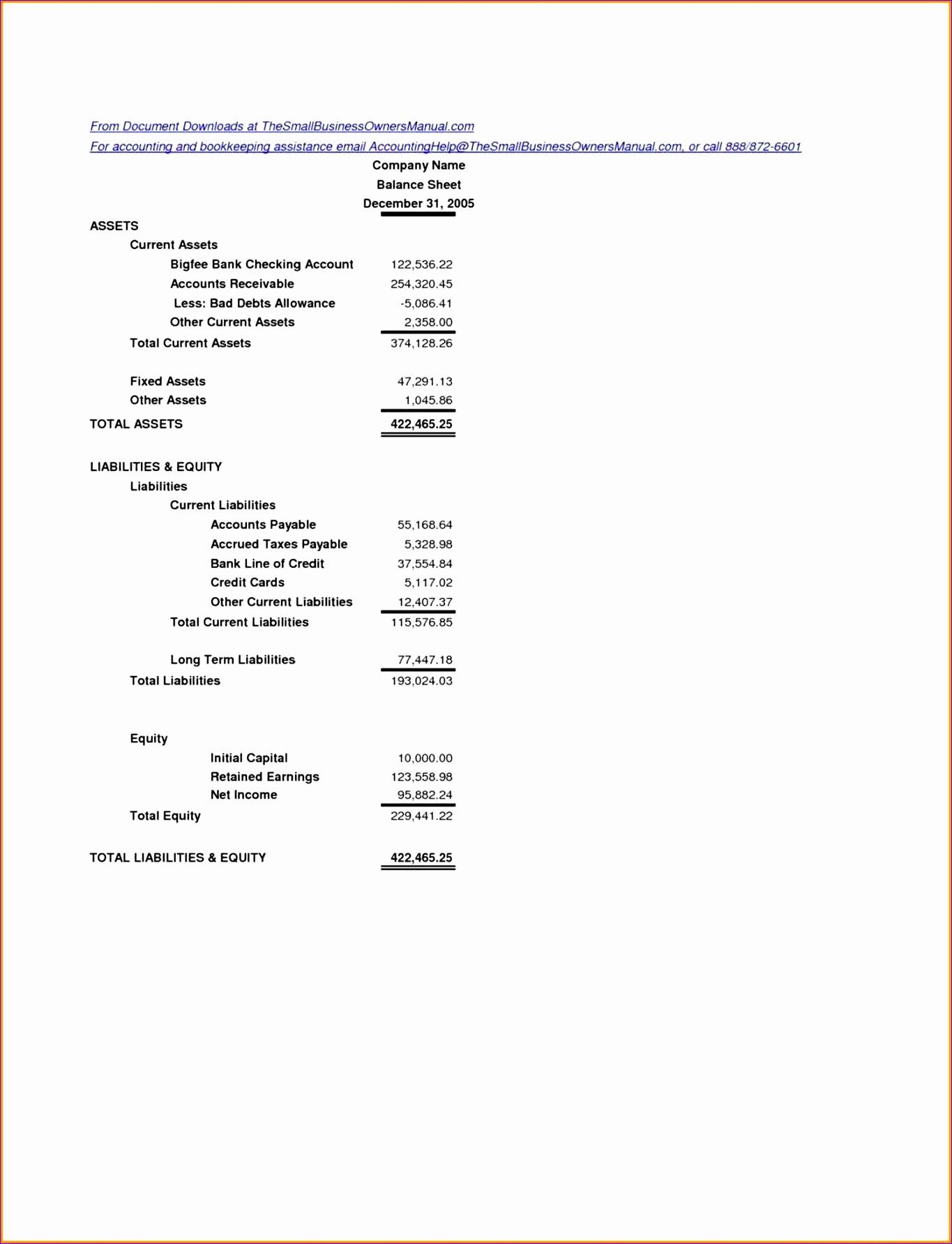 14 Small Business Balance Sheet Template Excel