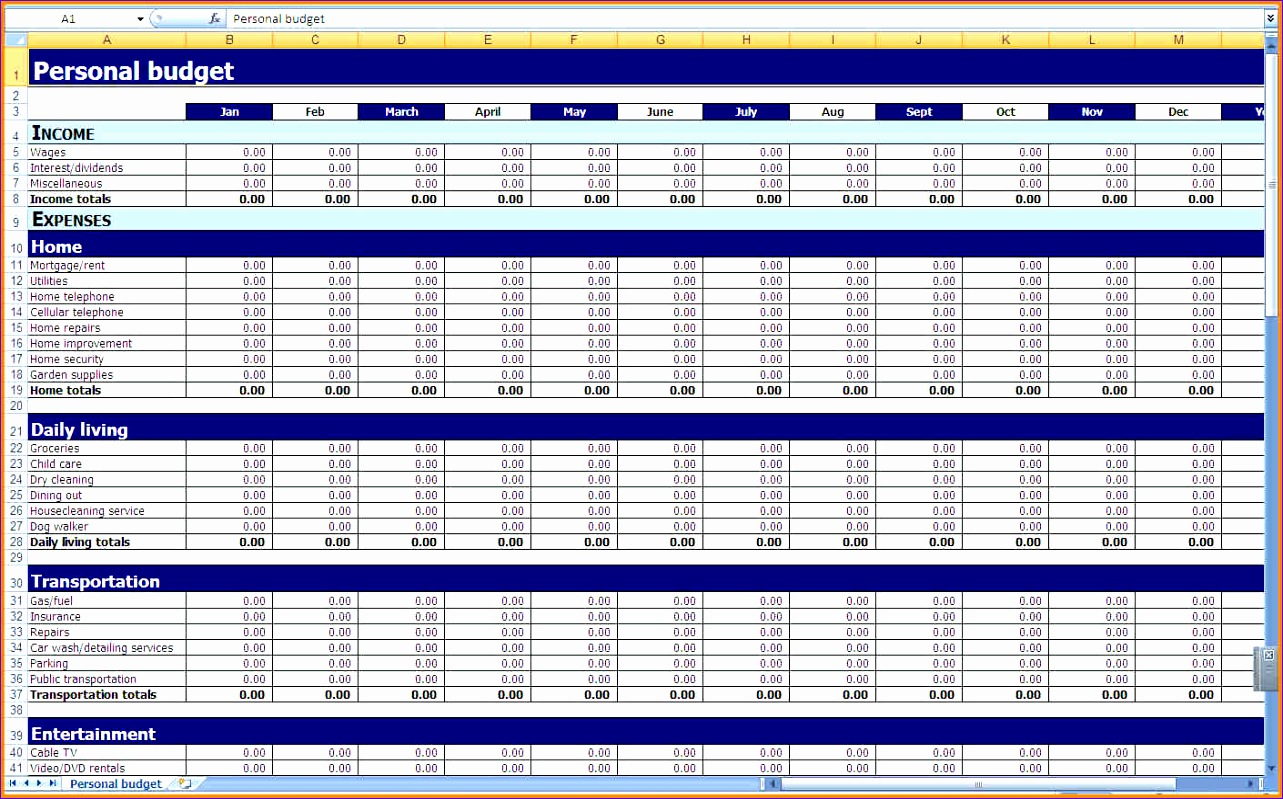 6 Excel Personal Budget Template