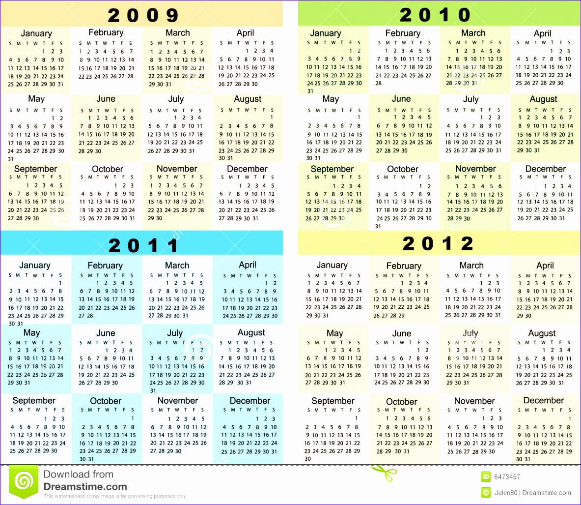 10 Yearly Calendar Template Excel