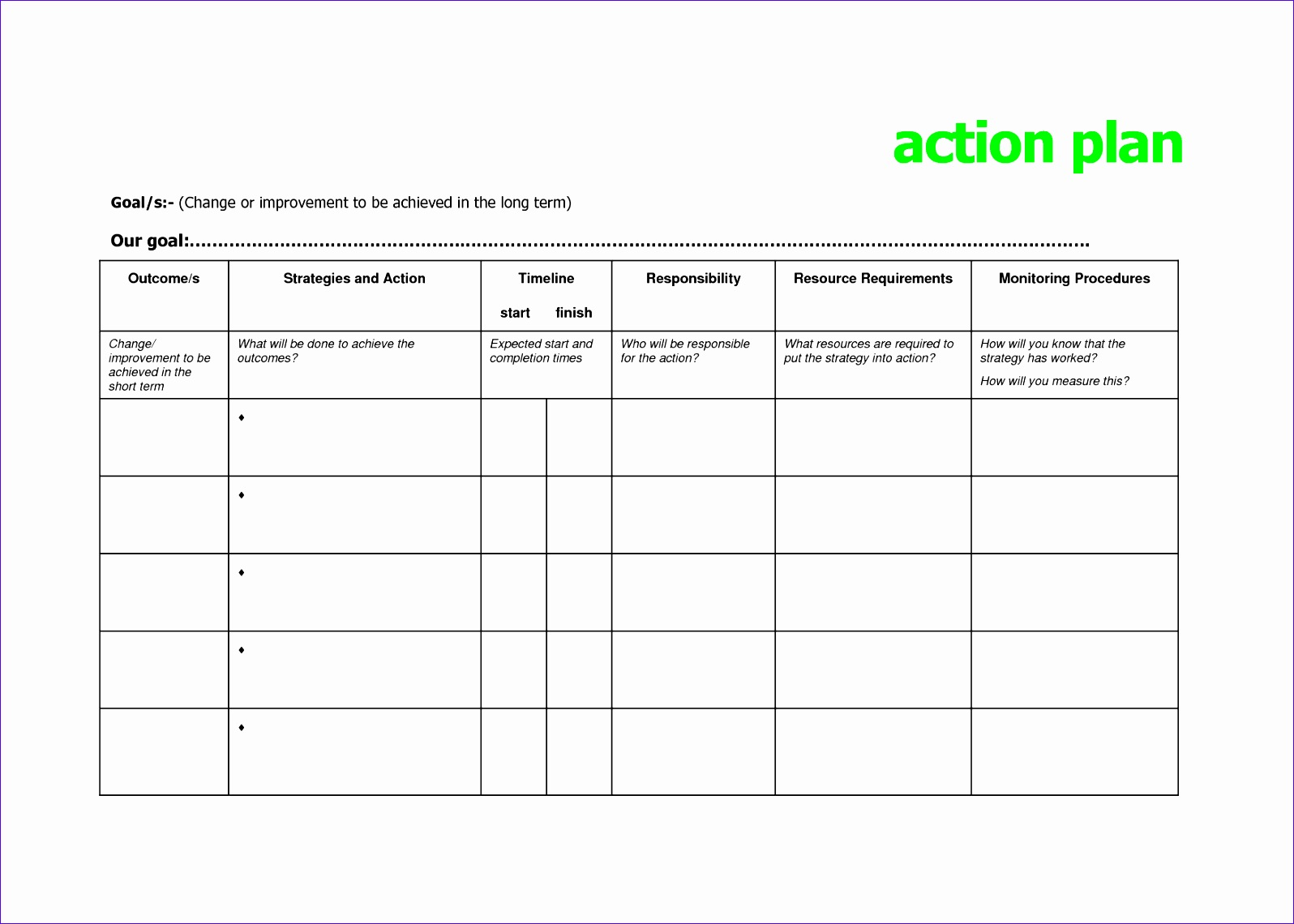 10 Action Plan Excel Template