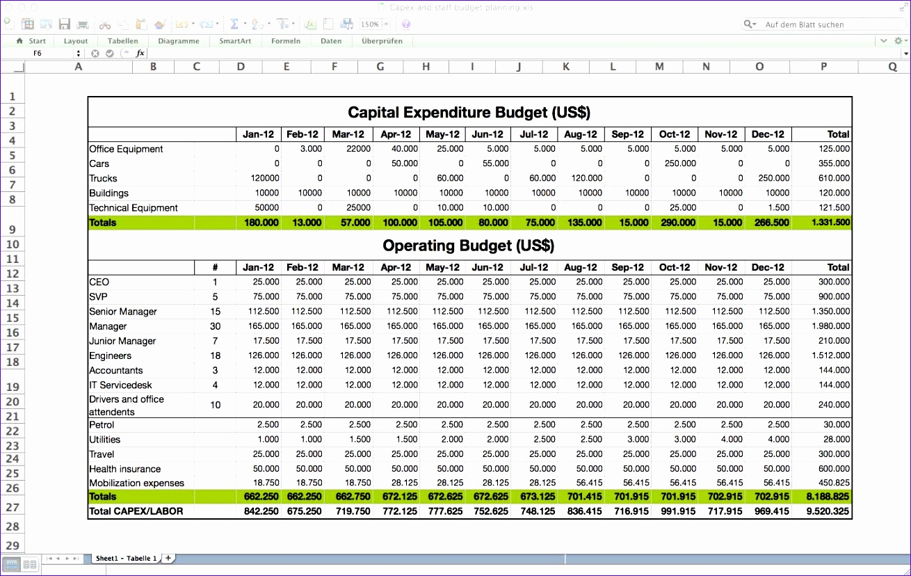 6 Budget Template Excel